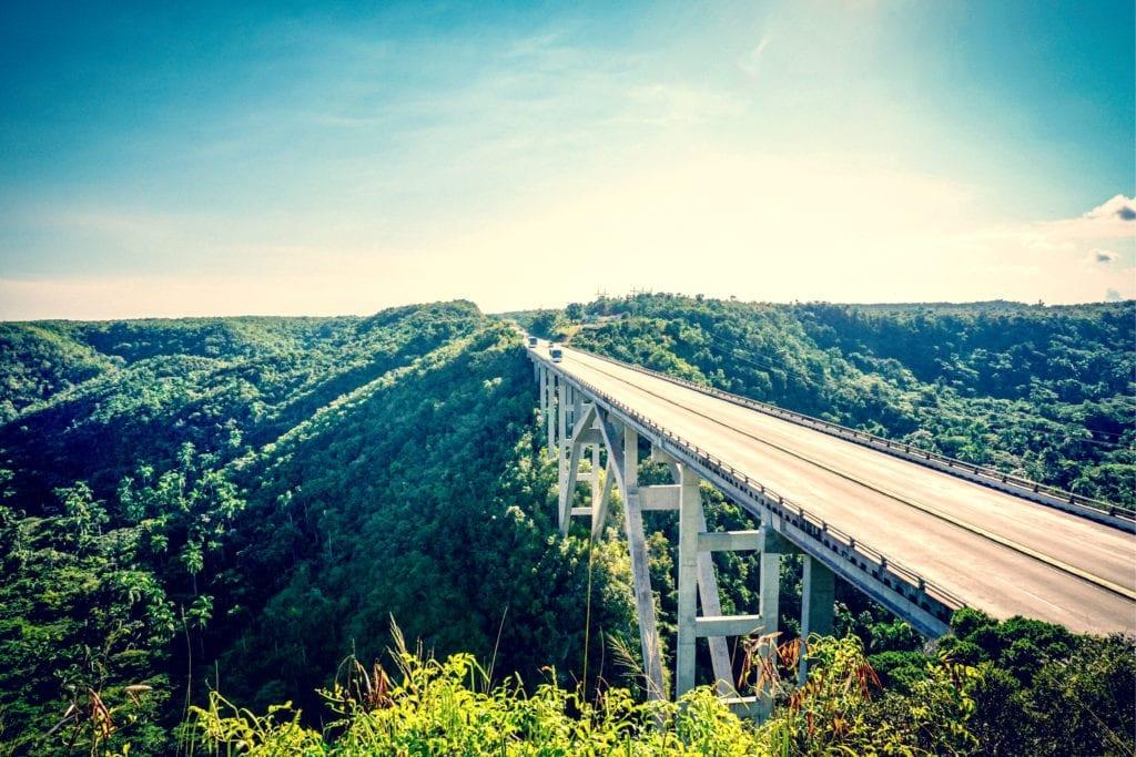 The bridge of Bacunayagu in Cuba