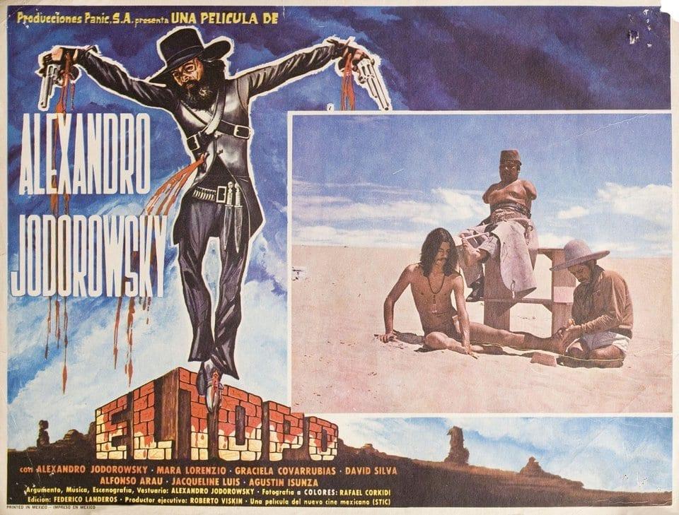 Una tarjeta postal con la portada de la película El Topo.