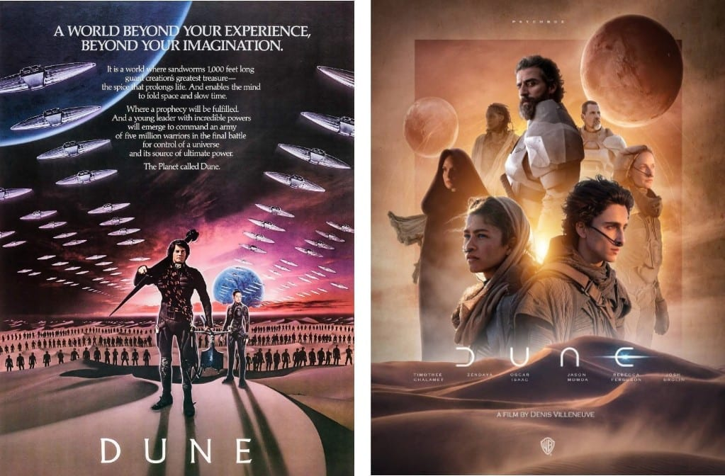 'Dune' by David Lynch and 'Dune' by Denis Villeneuve.