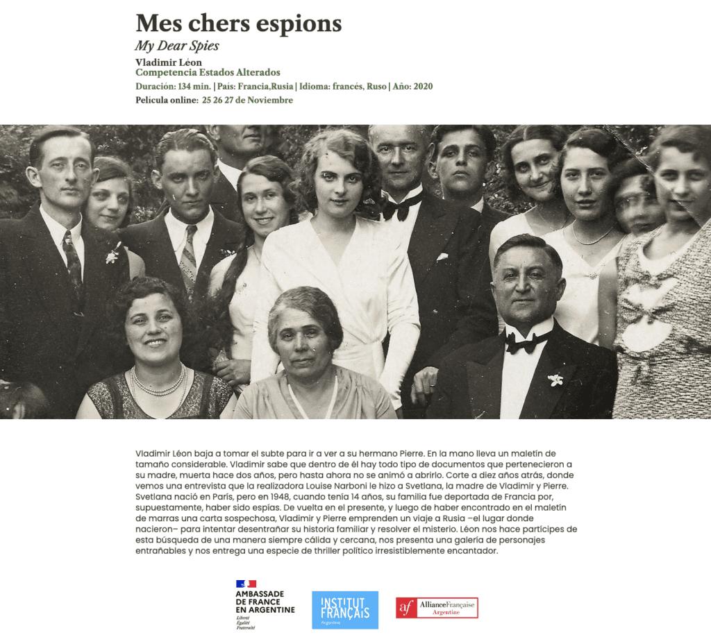 Mes chers espions, 2020 на Международном кинофестивале в Мар-дель-Плата.